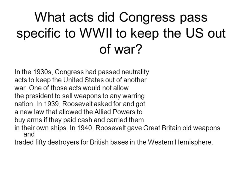 What acts did Congress pass specific to WWII to keep the US out of war