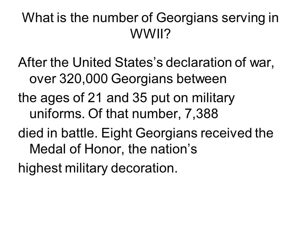 What is the number of Georgians serving in WWII
