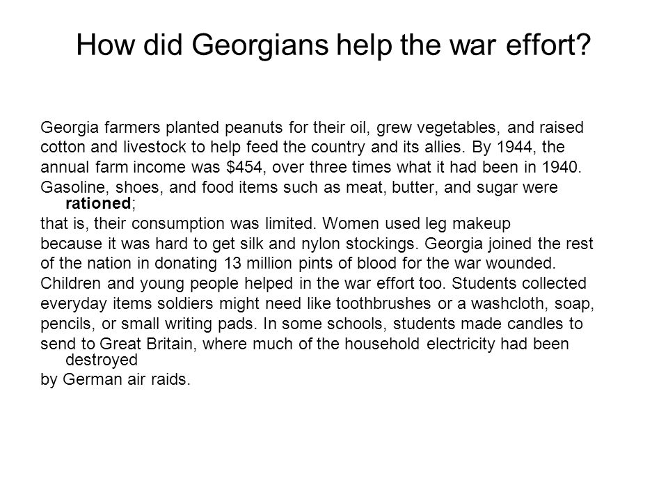 How did Georgians help the war effort