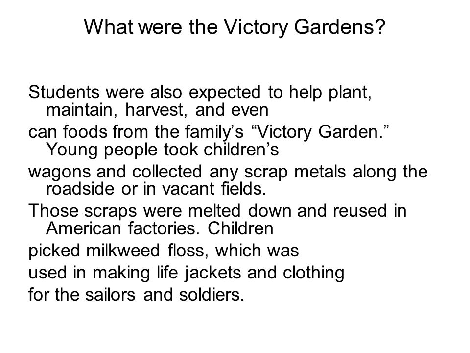What were the Victory Gardens