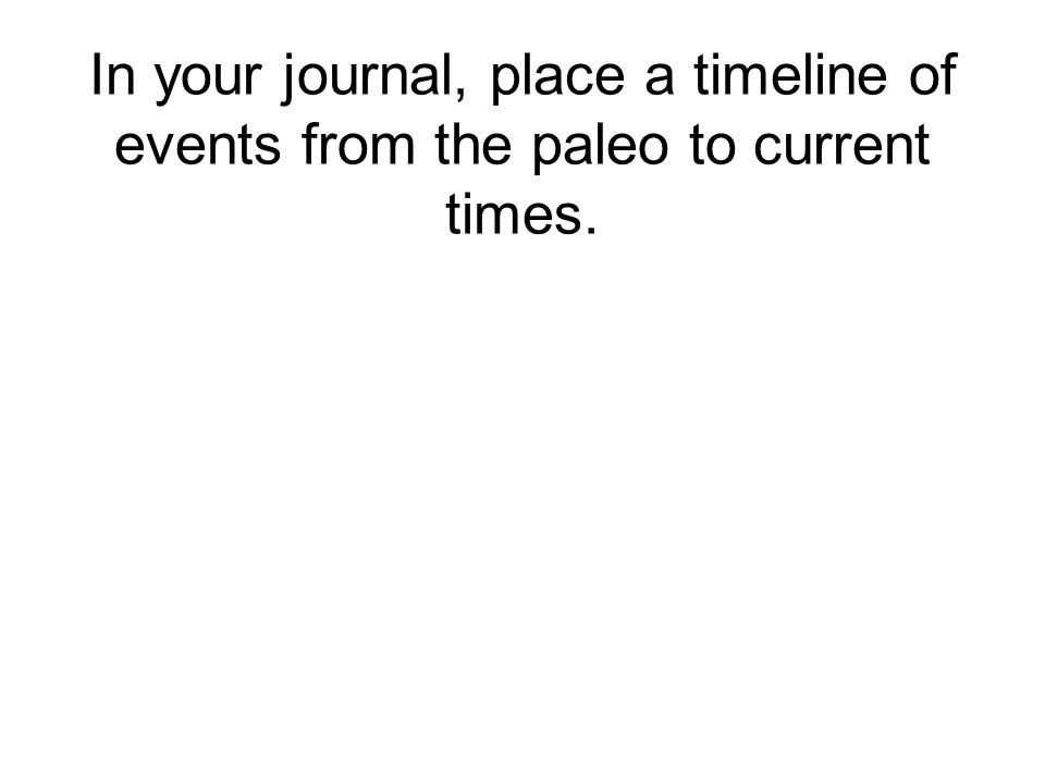 In your journal, place a timeline of events from the paleo to current times.
