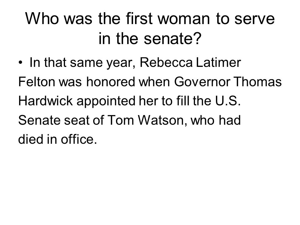 Who was the first woman to serve in the senate