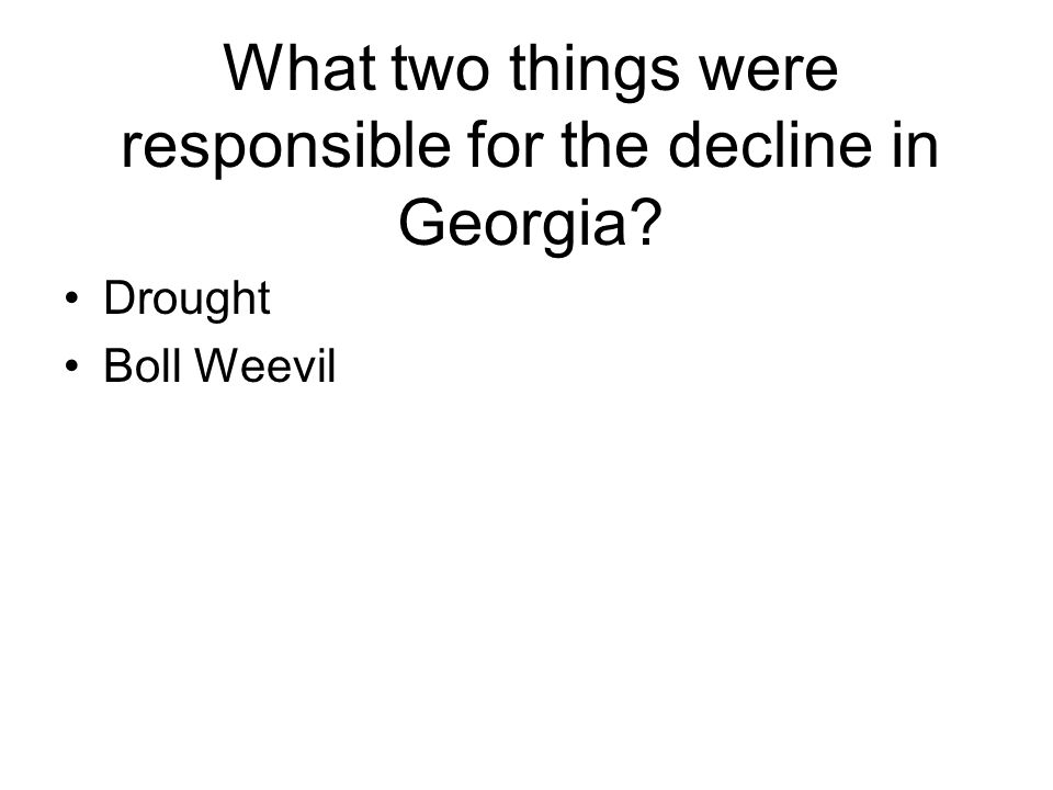 What two things were responsible for the decline in Georgia