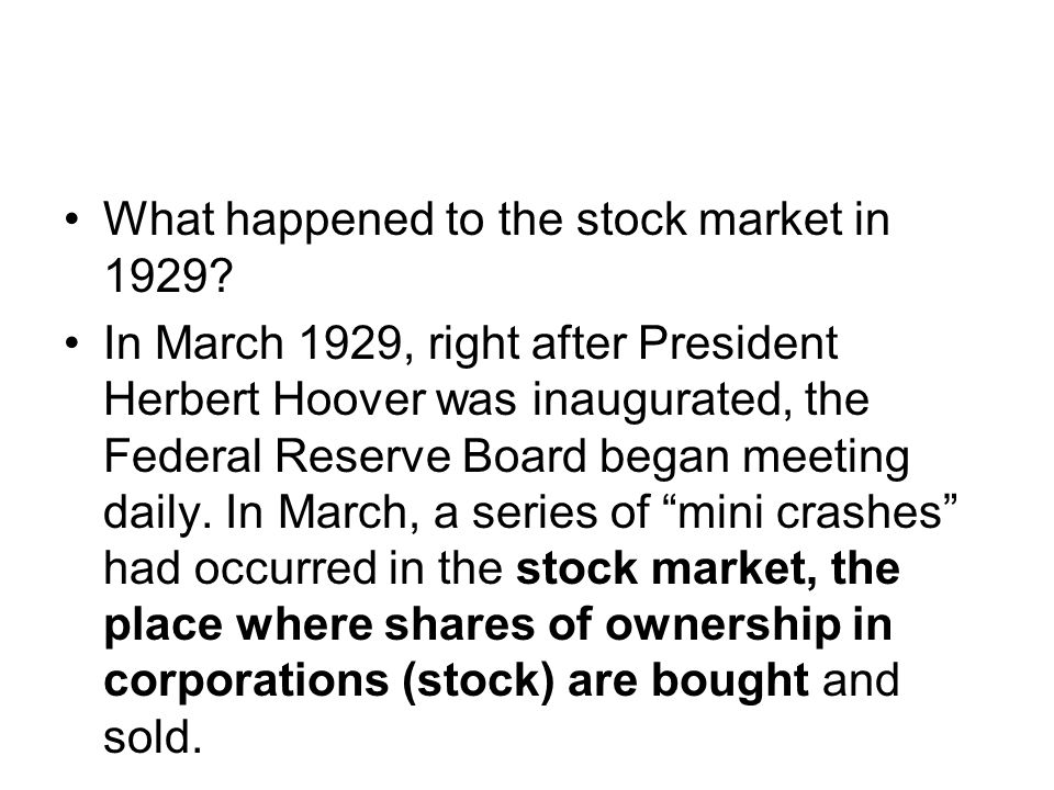What happened to the stock market in 1929