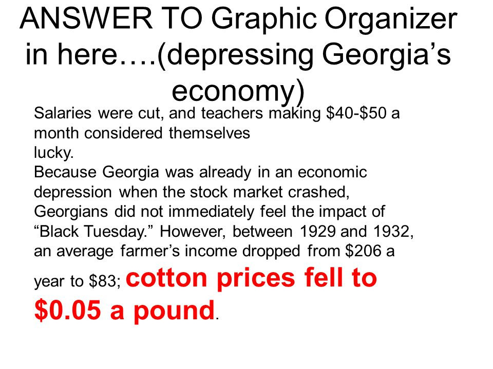 ANSWER TO Graphic Organizer in here….(depressing Georgia's economy)