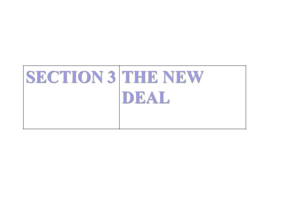 SECTION 3 THE NEW DEAL