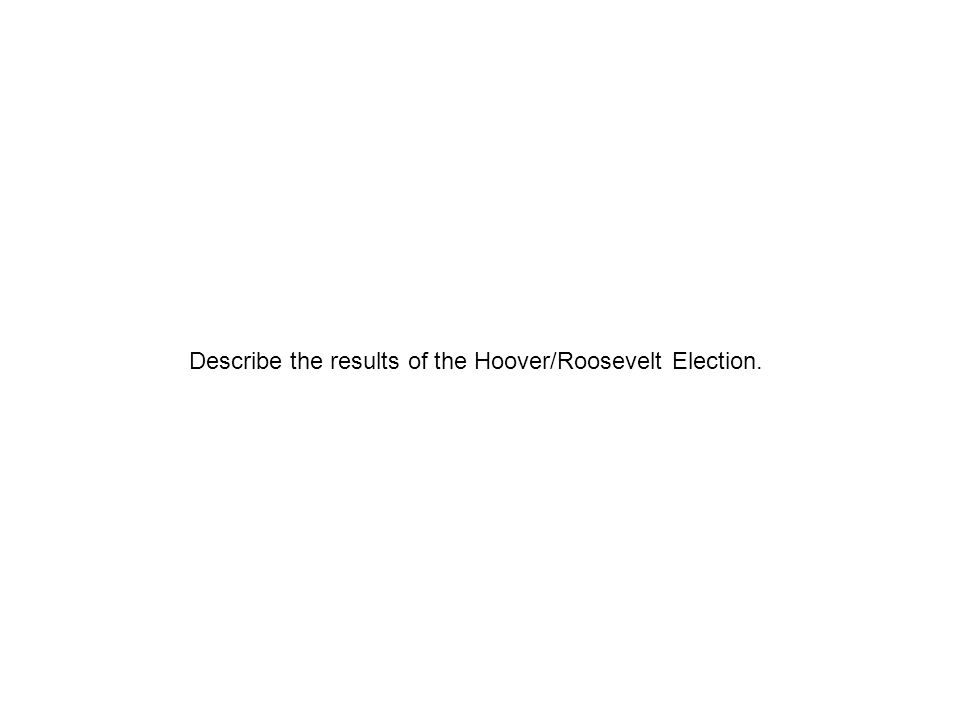 Describe the results of the Hoover/Roosevelt Election.