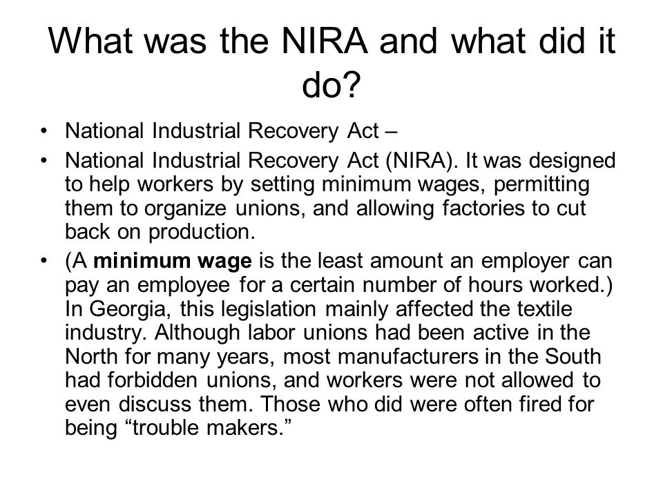 What was the NIRA and what did it do
