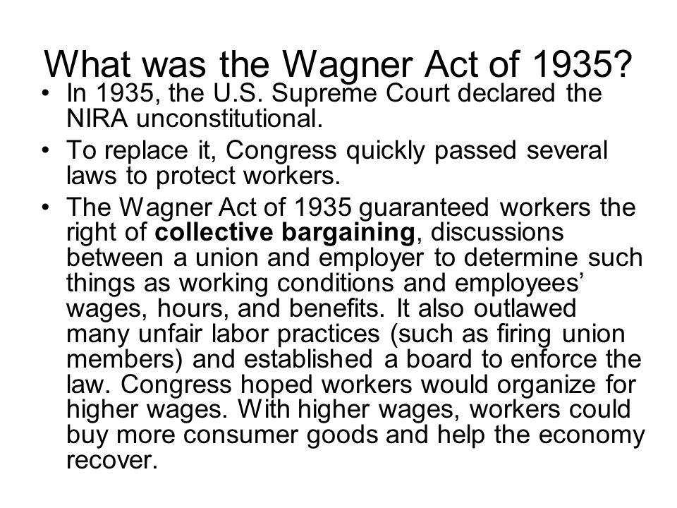 What was the Wagner Act of 1935