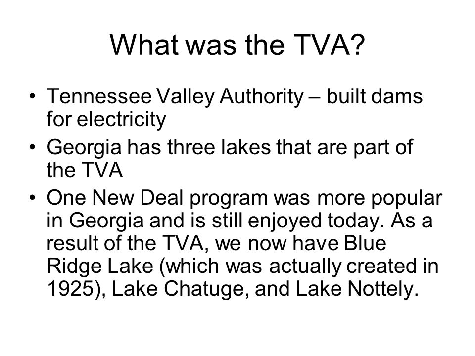 What was the TVA Tennessee Valley Authority – built dams for electricity. Georgia has three lakes that are part of the TVA.