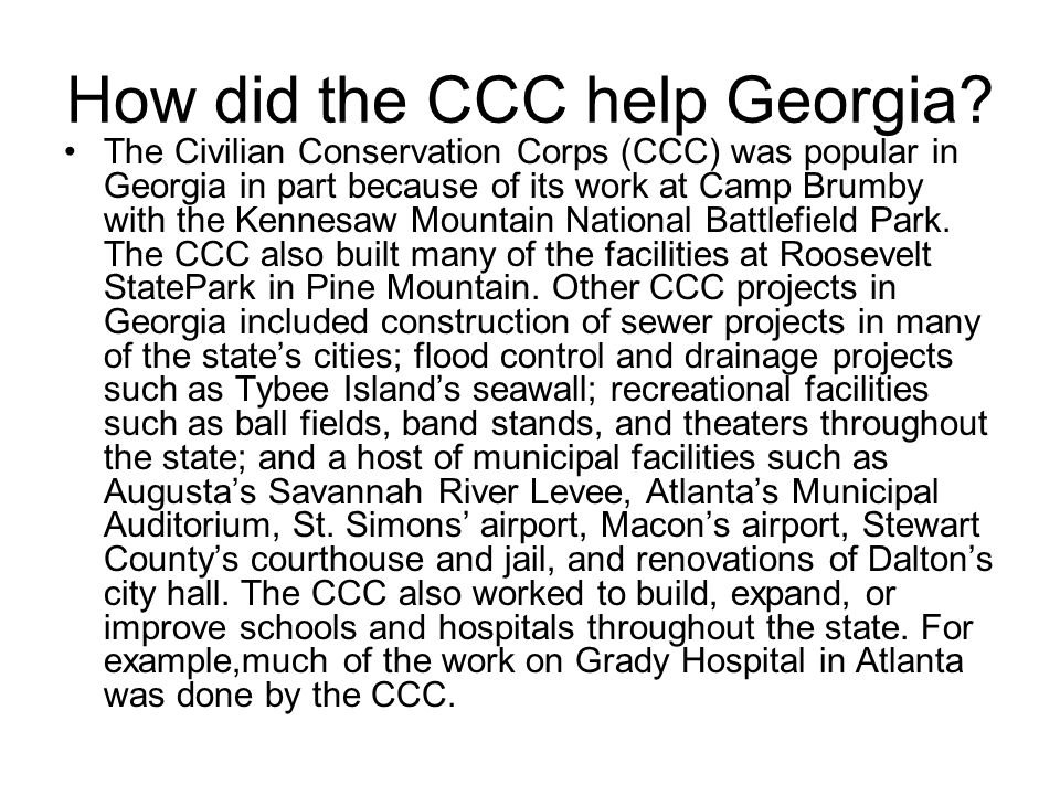 How did the CCC help Georgia