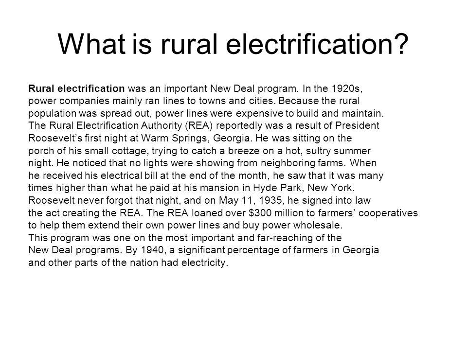 What is rural electrification