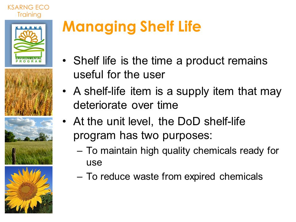 Managing Shelf Life Shelf life is the time a product remains useful for the user. A shelf-life item is a supply item that may deteriorate over time.