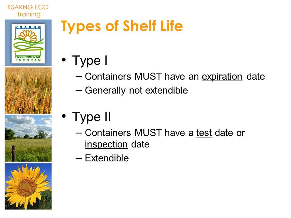 Types of Shelf Life Type I Type II