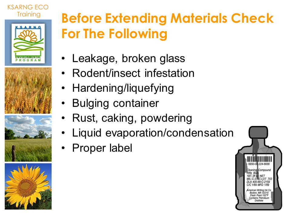 Before Extending Materials Check For The Following