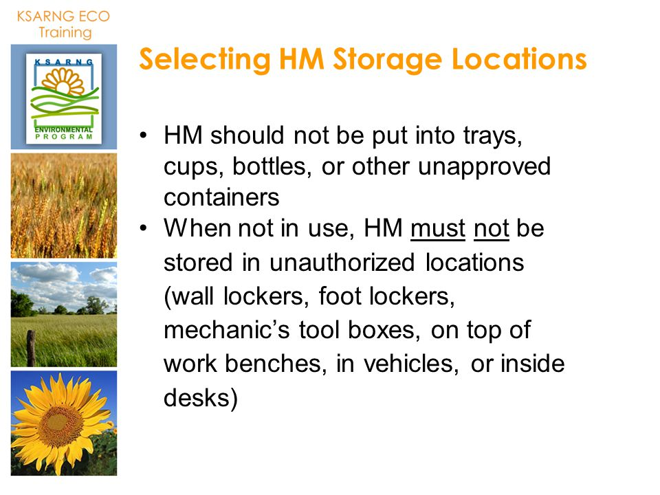 Selecting HM Storage Locations