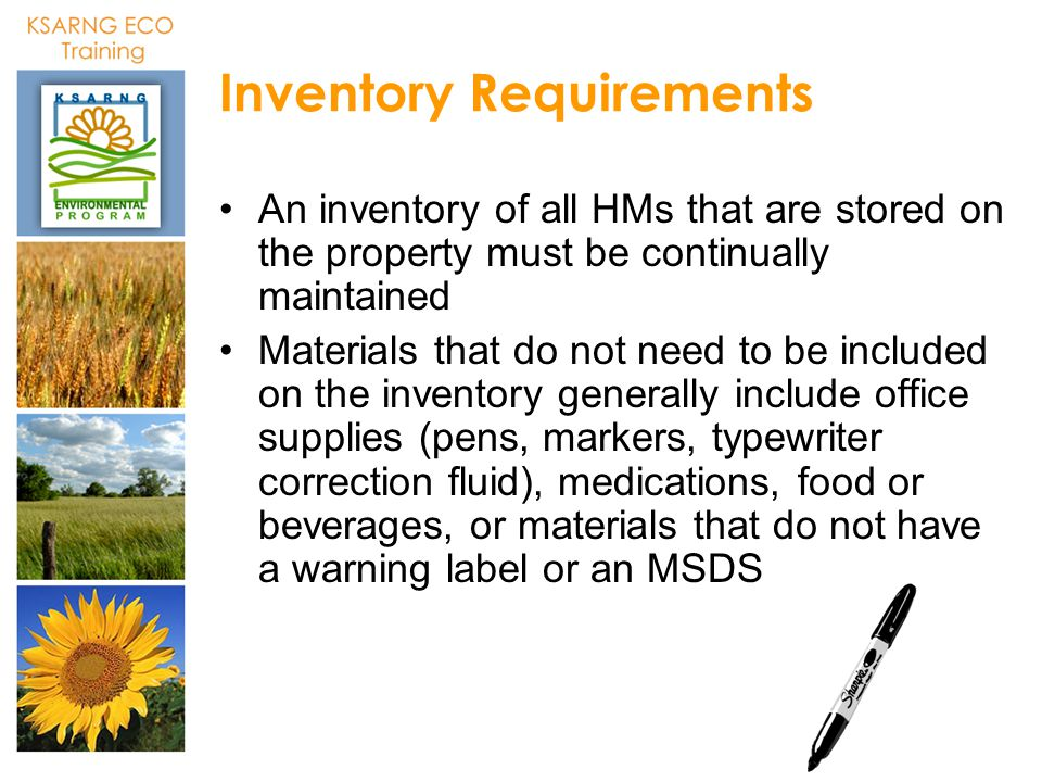 Inventory Requirements