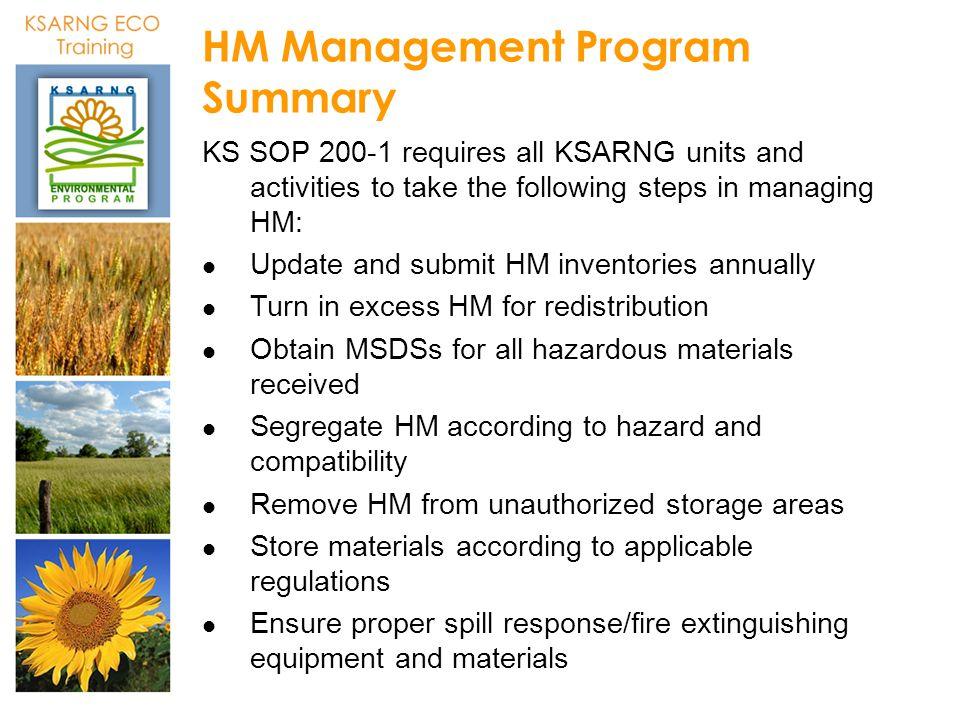 HM Management Program Summary
