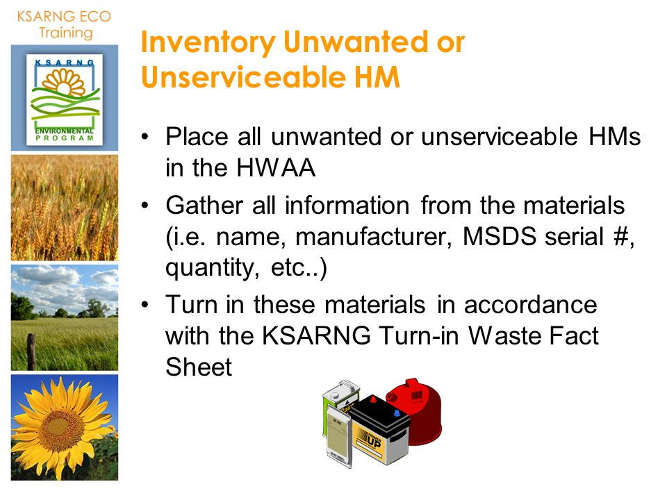 Inventory Unwanted or Unserviceable HM