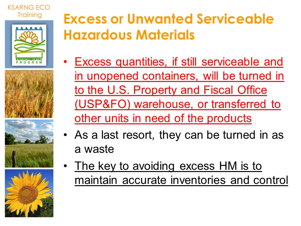 Excess or Unwanted Serviceable Hazardous Materials