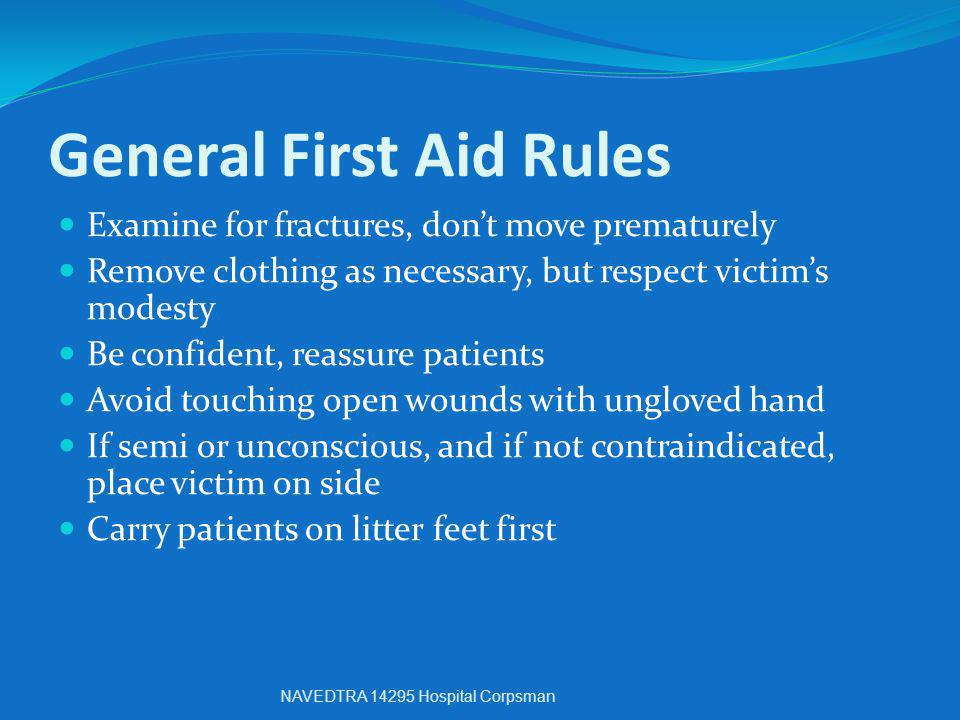 General First Aid Rules