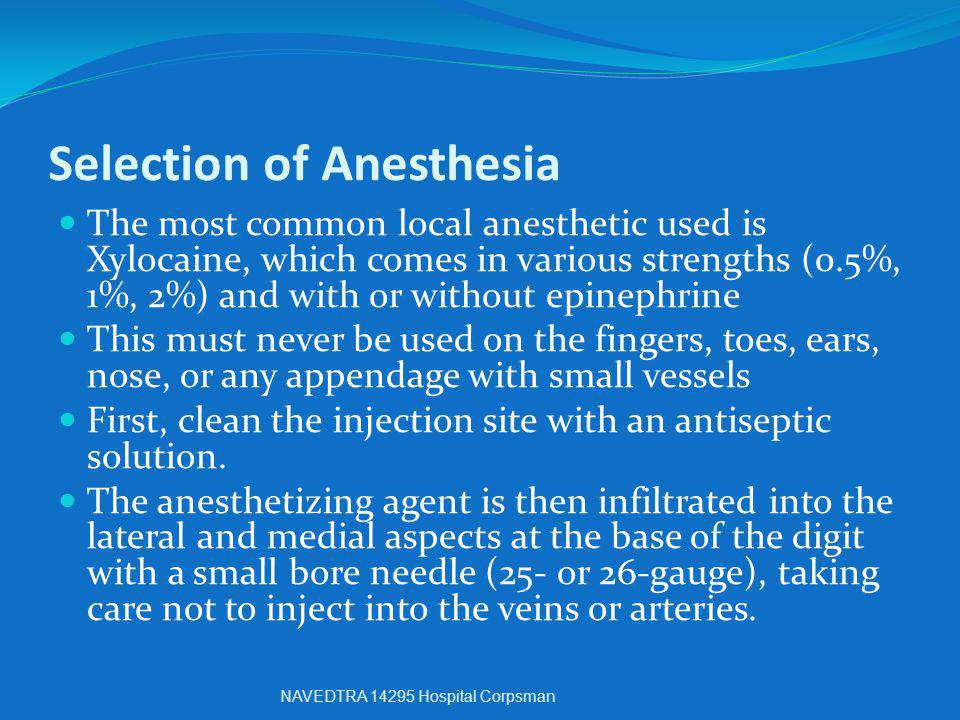 Selection of Anesthesia