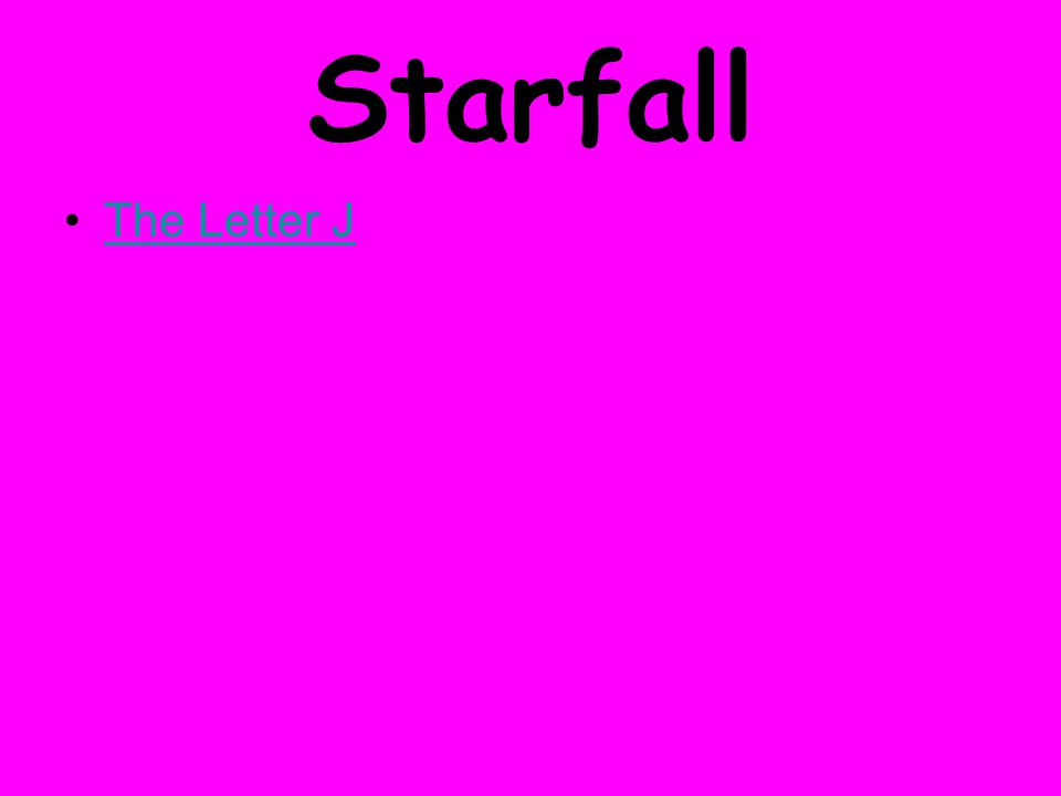 Starfall The Letter J