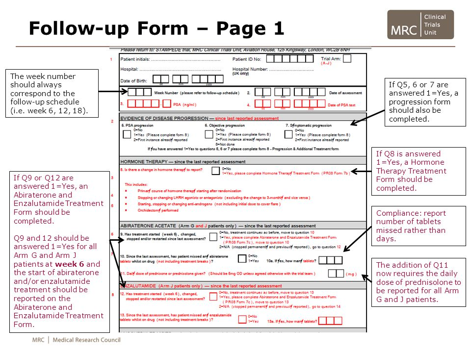 Follow-up Form – Page 1 The week number should always correspond to the follow-up schedule (i.e. week 6, 12, 18).
