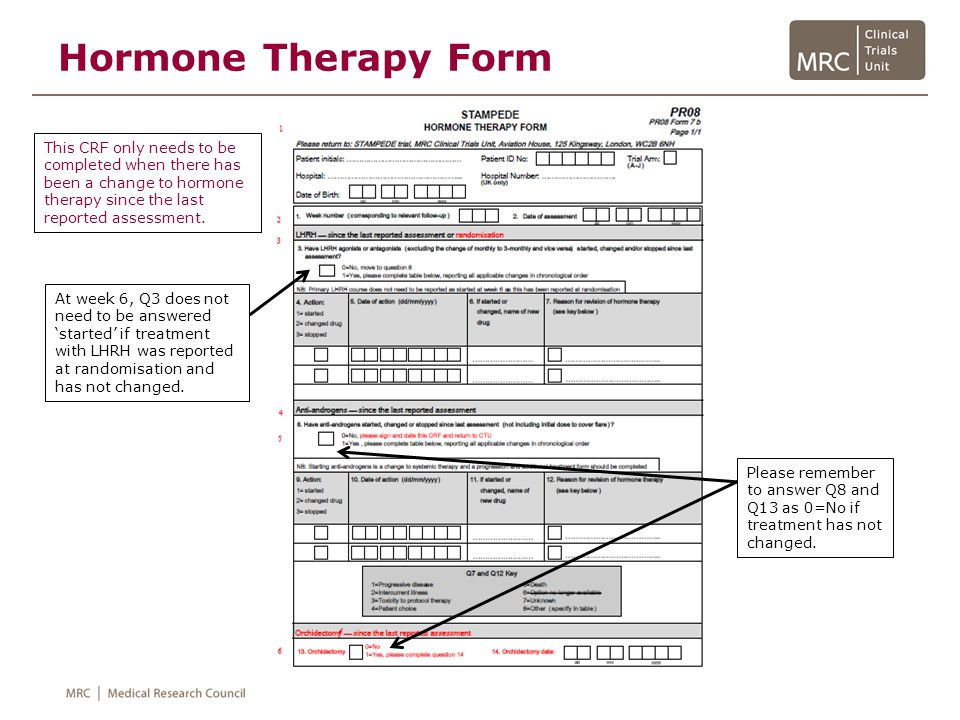 Hormone Therapy Form This CRF only needs to be completed when there has been a change to hormone therapy since the last reported assessment.