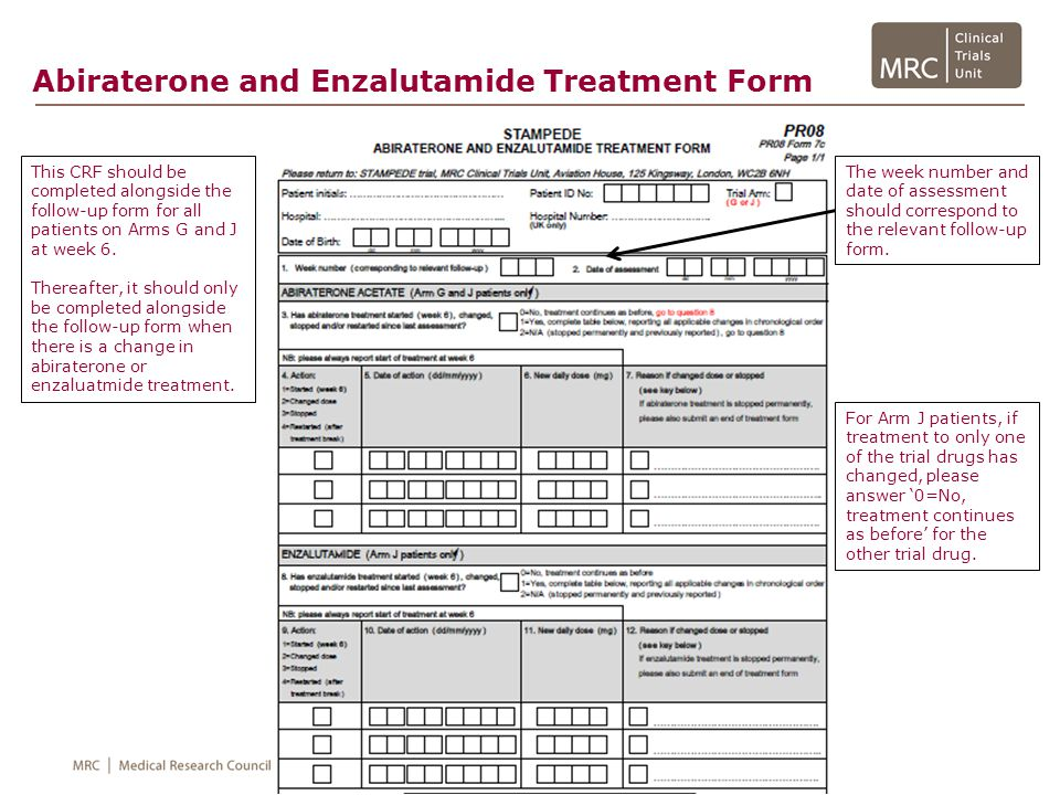 Abiraterone and Enzalutamide Treatment Form