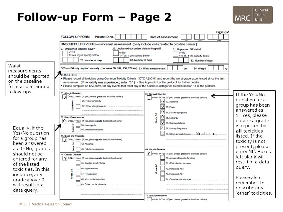 Follow-up Form – Page 2 Waist measurements should be reported on the baseline form and at annual follow-ups.