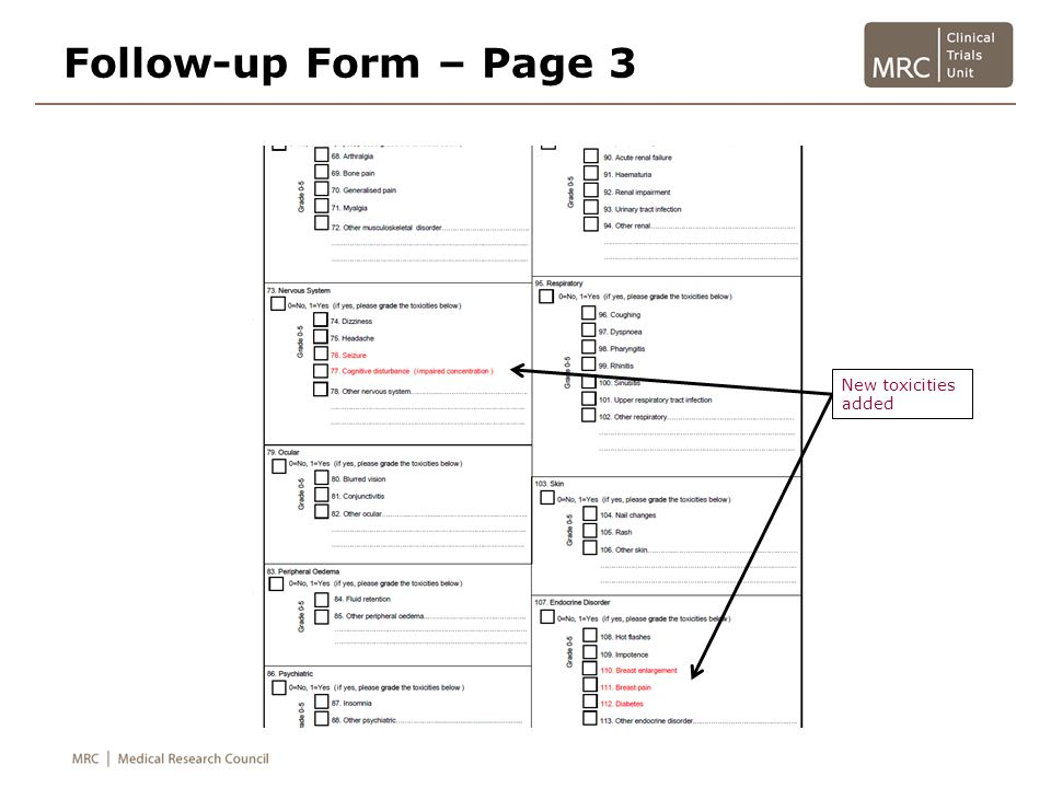 Follow-up Form – Page 3 New toxicities added