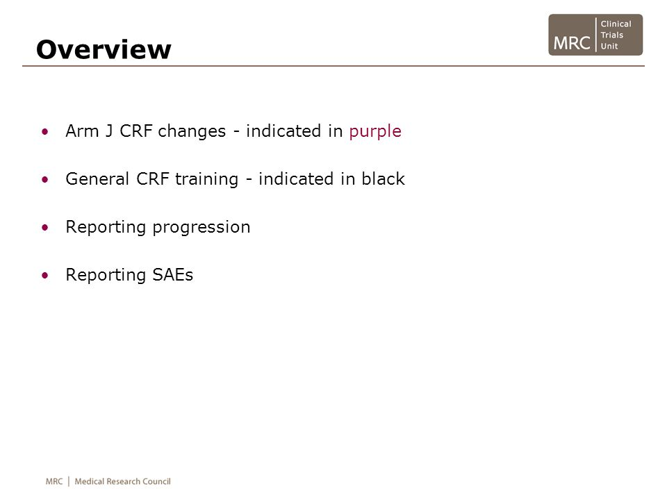Overview Arm J CRF changes - indicated in purple