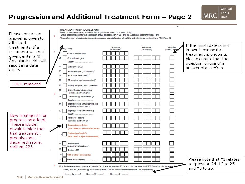 Progression and Additional Treatment Form – Page 2