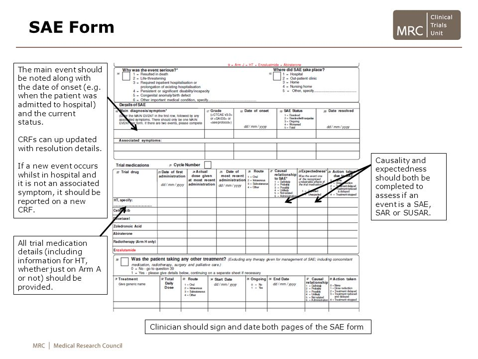 SAE Form The main event should be noted along with the date of onset (e.g. when the patient was admitted to hospital) and the current status.