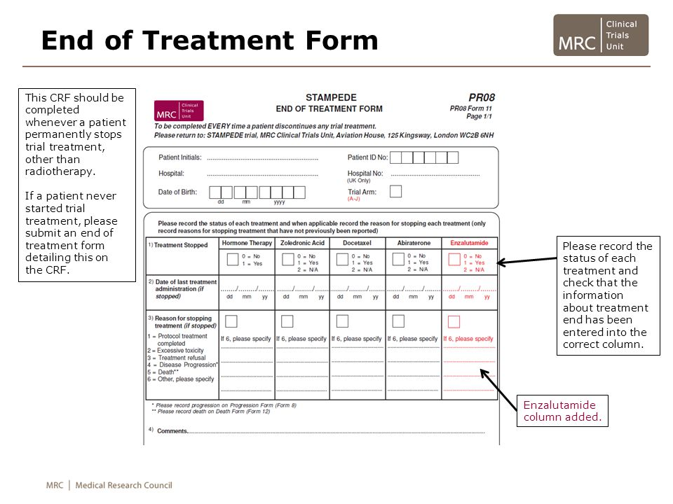 End of Treatment Form Comments section is optional