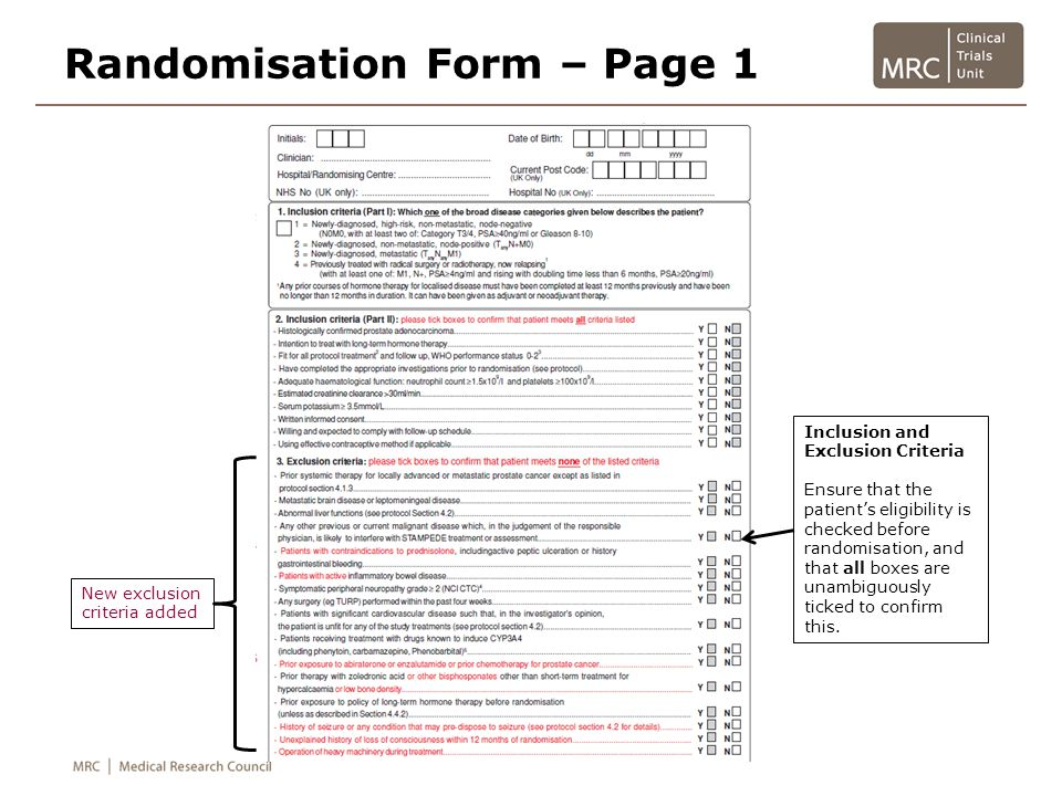 Randomisation Form – Page 1