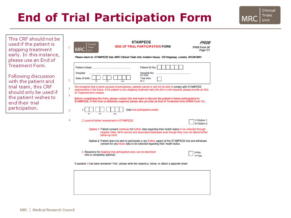 End of Trial Participation Form
