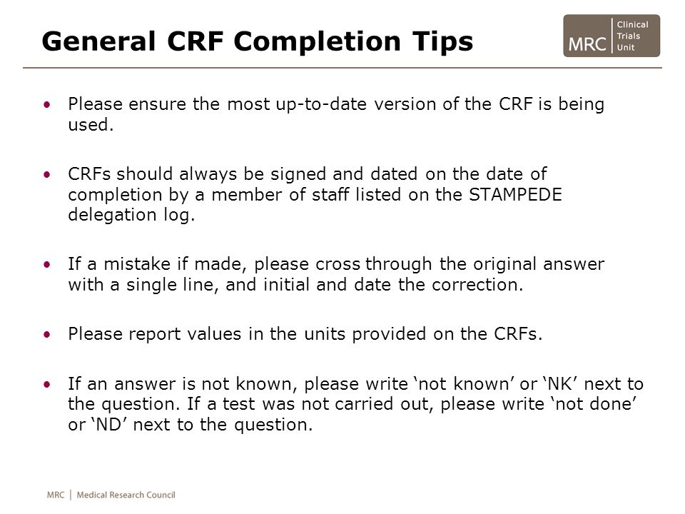 General CRF Completion Tips