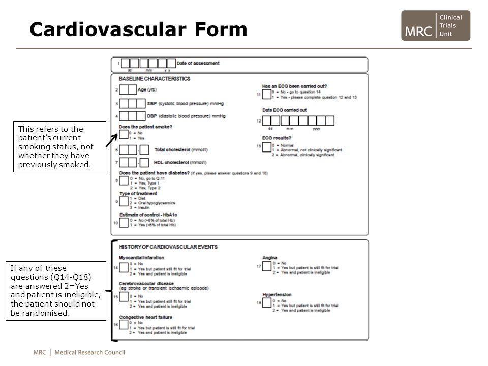 Cardiovascular Form Querying 2=Yes and patient is ineligible