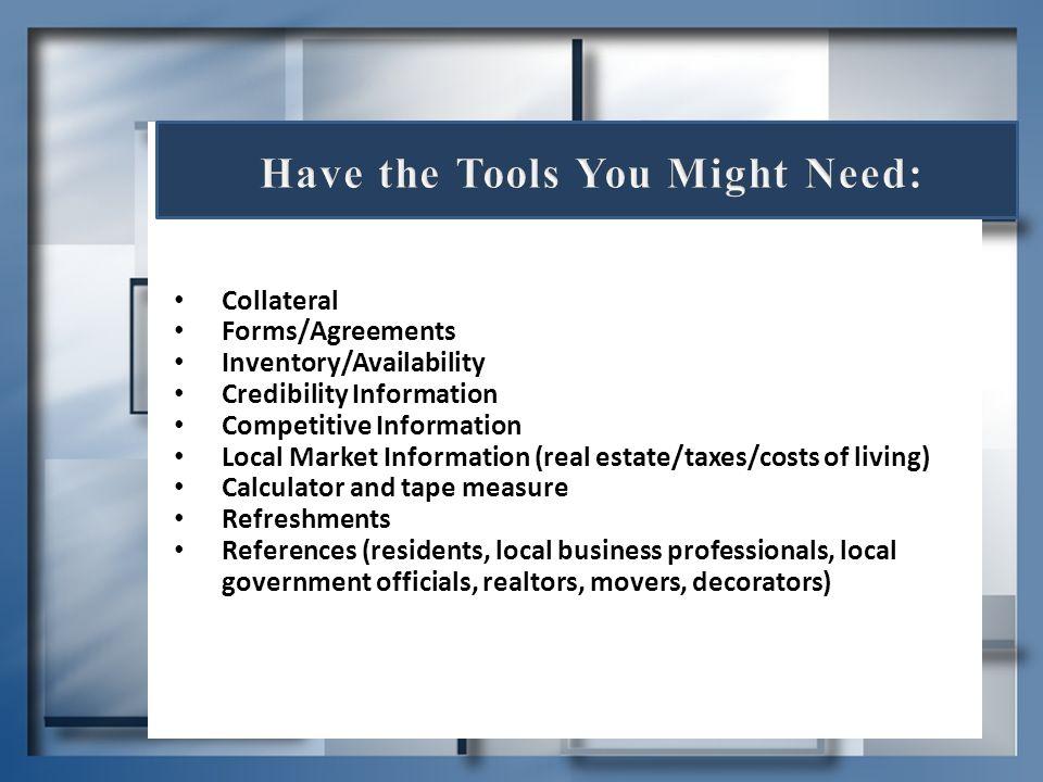 Have the Tools You Might Need: