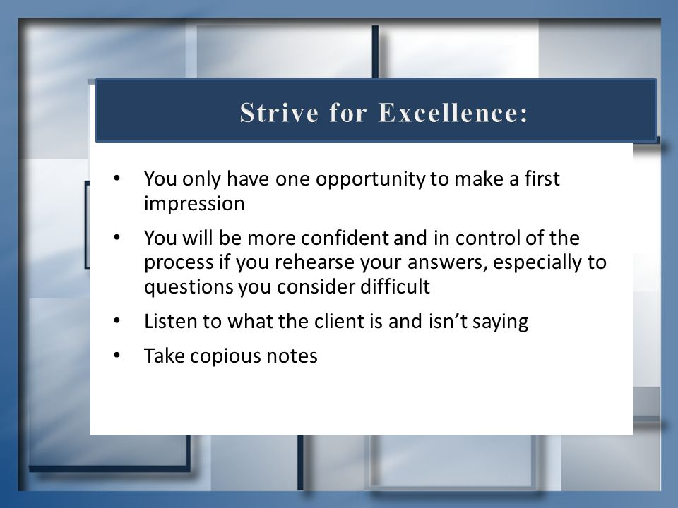Strive for Excellence: