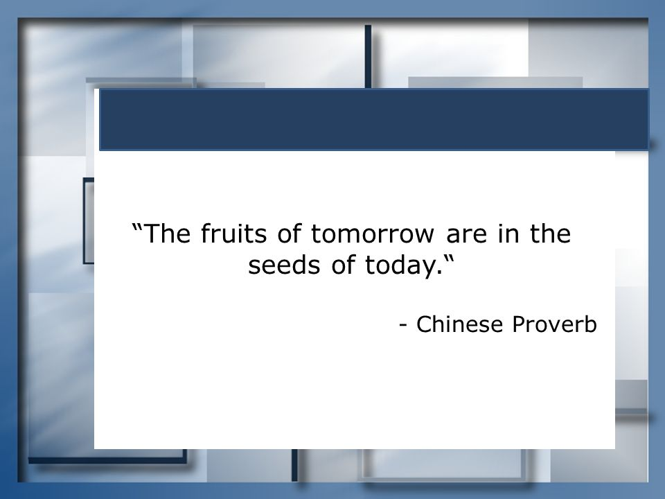 The fruits of tomorrow are in the seeds of today.
