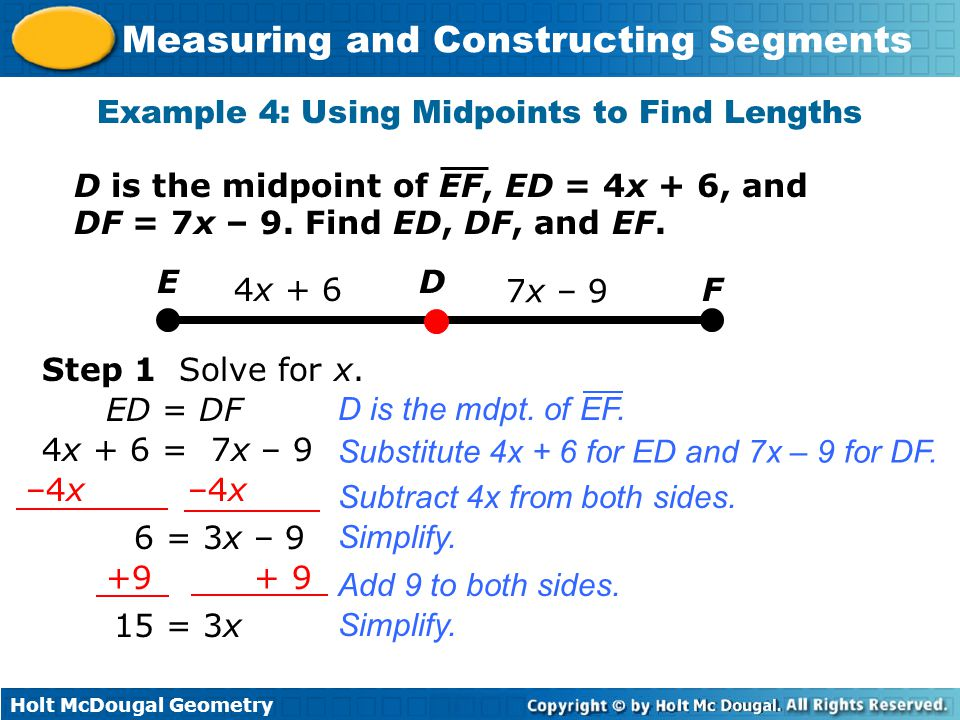 Example 4: Using Midpoints to Find Lengths