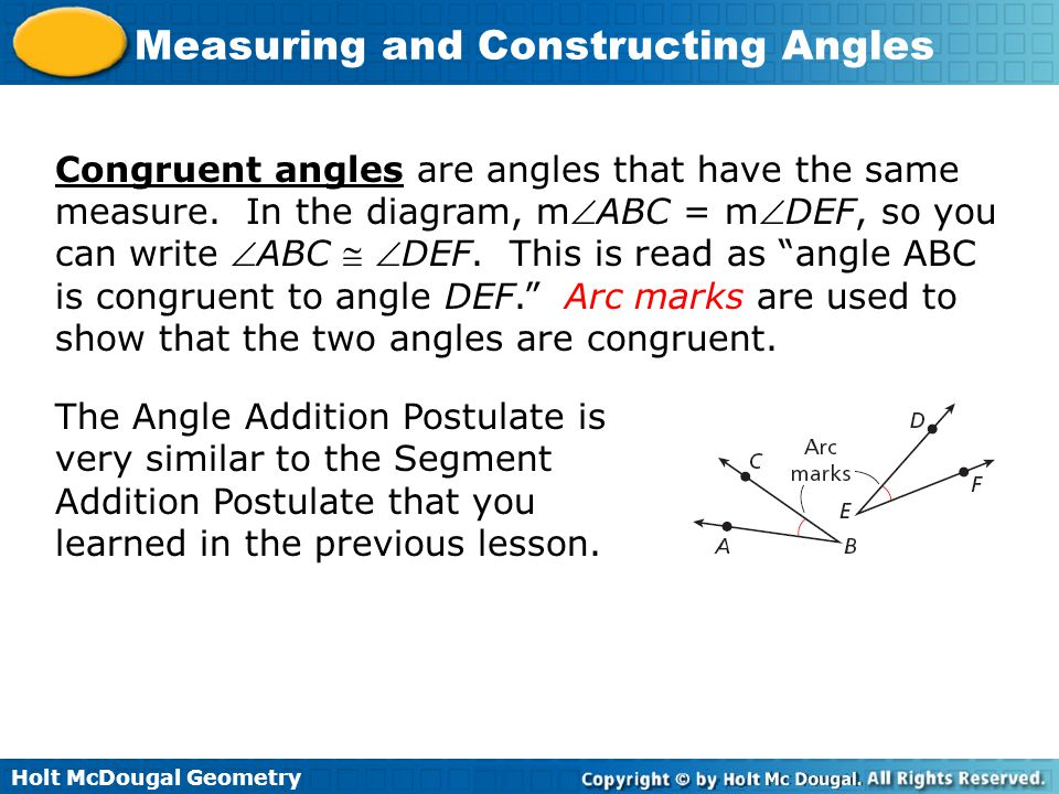 Congruent angles are angles that have the same measure