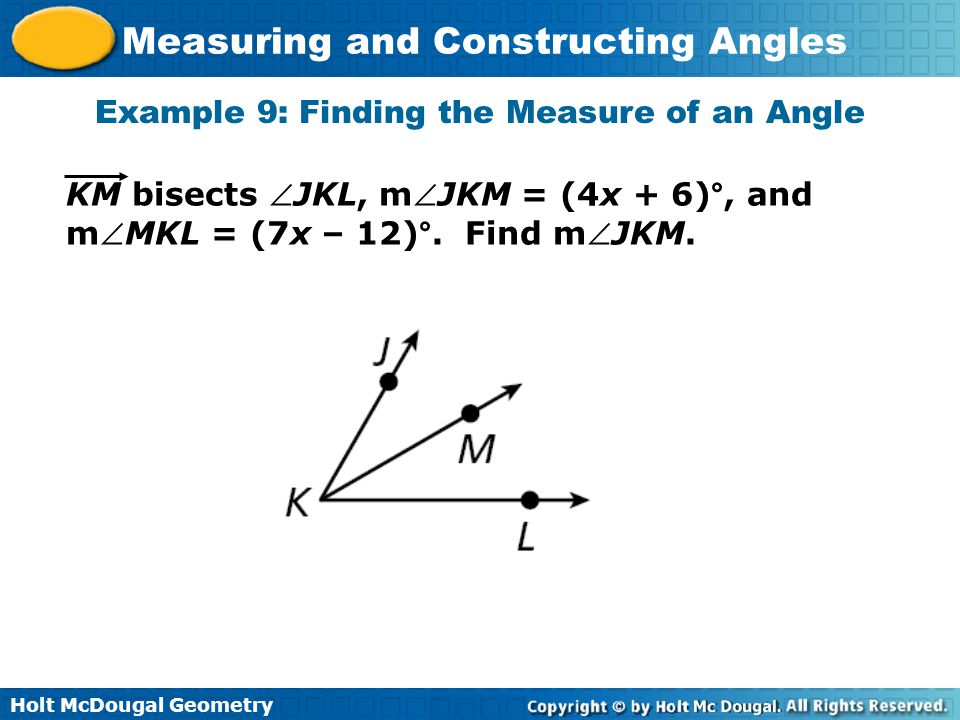 Example 9: Finding the Measure of an Angle