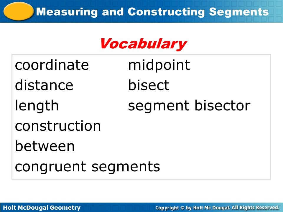 Vocabulary coordinate midpoint. distance bisect. length segment bisector. construction. between.