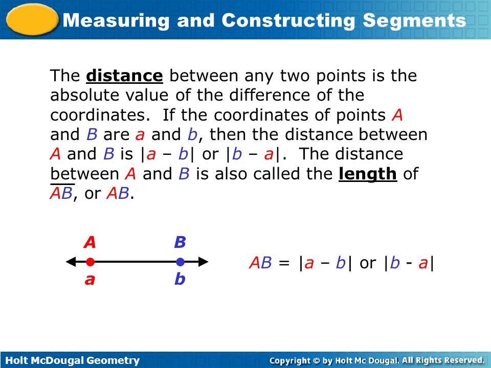 The distance between any two points is the absolute value of the difference of the coordinates. If the coordinates of points A and B are a and b, then the distance between A and B is |a – b| or |b – a|. The distance between A and B is also called the length of AB, or AB.