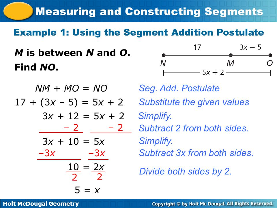 Example 1: Using the Segment Addition Postulate