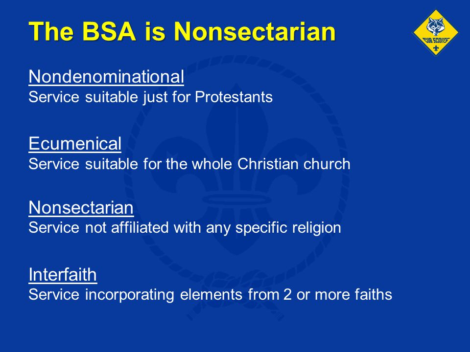 The BSA is Nonsectarian